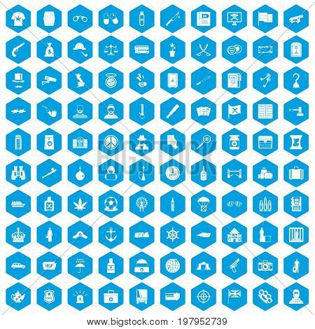 100 offence icons set in blue hexagon isolated vector illustration