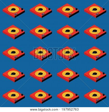 Turntable music retro vintage seamless pattern background vector illustration
