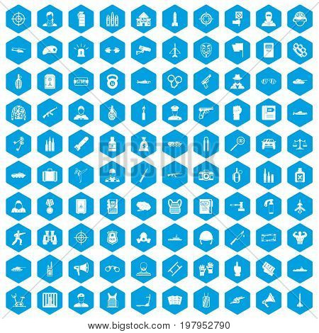 100 officer icons set in blue hexagon isolated vector illustration