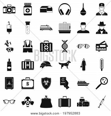 Case icons set. Simple style of 36 case vector icons for web isolated on white background