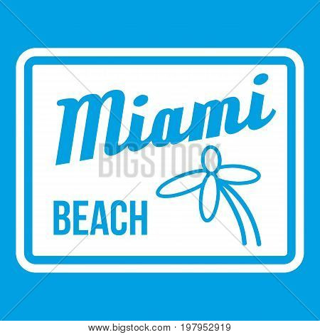 Miami beach icon white isolated on blue background vector illustration