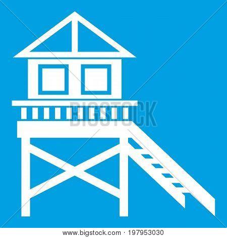 Wooden stilt house icon white isolated on blue background vector illustration