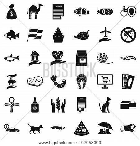 Domestic cat icons set. Simple style of 36 domestic cat vector icons for web isolated on white background