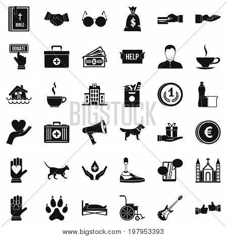 Helping icons set. Simple style of 36 helping vector icons for web isolated on white background