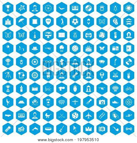 100 photo icons set in blue hexagon isolated vector illustration