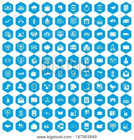 100 postal service icons set in blue hexagon isolated vector illustration