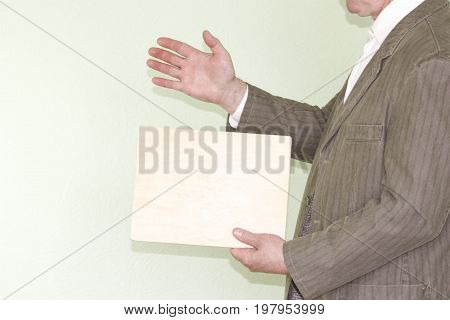 Business Concept Businessman. Holds