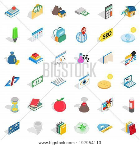 Chemistry icons set. Isometric style of 36 chemistry vector icons for web isolated on white background