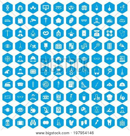 100 profession icons set in blue hexagon isolated vector illustration