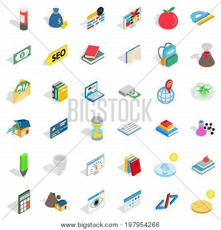 Chemistry in school icons set. Isometric style of 36 chemistry in school vector icons for web isolated on white background