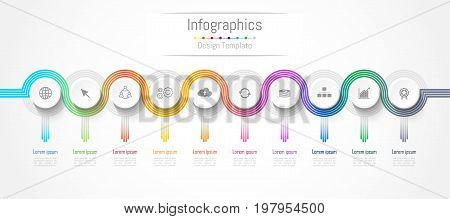 Infographic design elements for your business data with 10 options parts steps timelines or processes. connection lines concept Vector Illustration.