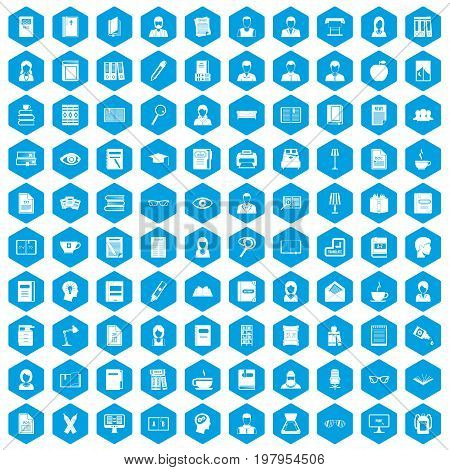 100 reader icons set in blue hexagon isolated vector illustration