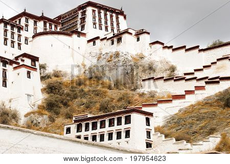 The Potala palace walls in Lhasa, Tibet and the blue sky