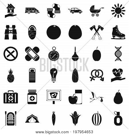 Child walking icons set. Simple style of 36 child walking vector icons for web isolated on white background
