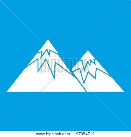 Swiss alps icon white isolated on blue background vector illustration