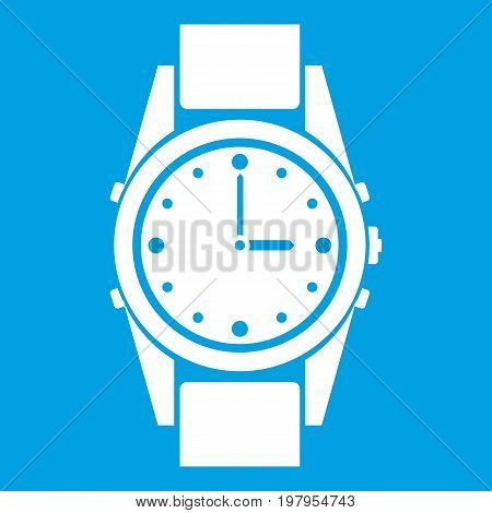 Swiss watch icon white isolated on blue background vector illustration