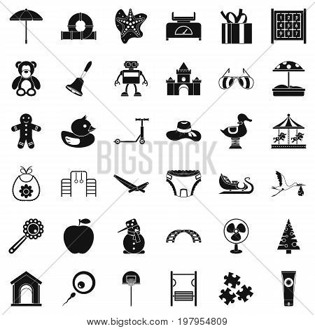 Nice childhood icons set. Simple style of 36 nice childhood vector icons for web isolated on white background