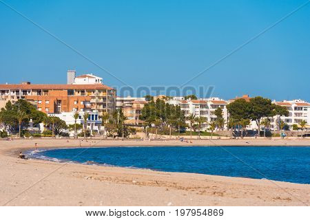 Sand Beach In Miami Platja, Tarragona, Catalunya, Spain. Copy Space For Text.