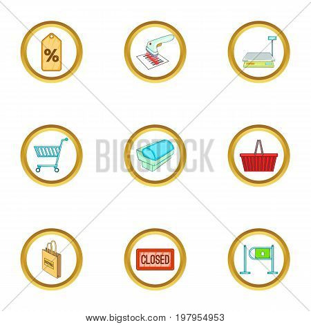Purchase icons set. Cartoon set of 9 purchase vector icons for web isolated on white background
