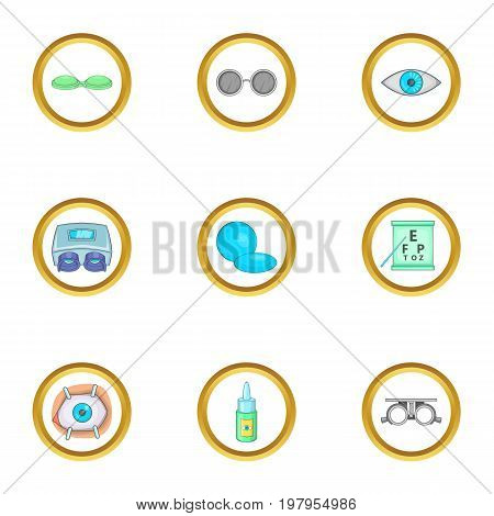 Caring for eyes icons set. Cartoon set of 9 caring for eyes vector icons for web isolated on white background