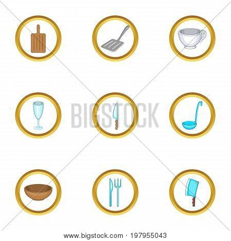 Tableware icons set. Cartoon set of 9 tableware vector icons for web isolated on white background