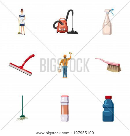 Cleaning company icons set. Cartoon set of 9 cleaning company vector icons for web isolated on white background