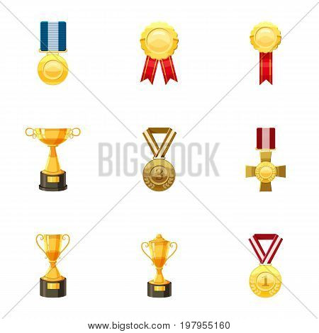 Sport awards icons set. Cartoon set of 9 sport awards vector icons for web isolated on white background