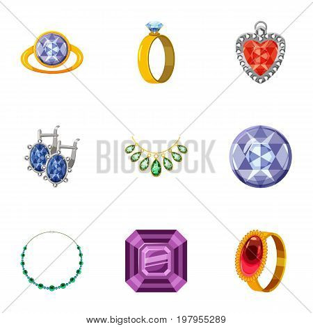 Imitation jewelry icons set. Cartoon set of 9 imitation jewelry vector icons for web isolated on white background