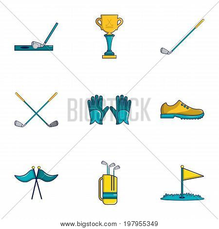 Golf competition icons set. Cartoon set of 9 golf competition vector icons for web isolated on white background