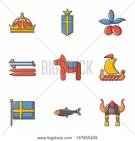 Scandinavian items icons set. Cartoon set of 9 scandinavian items vector icons for web isolated on white background