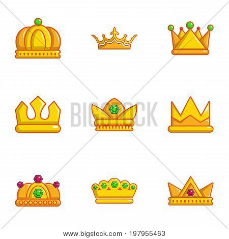Royal crown icons set. Flat set of 9 royal crown vector icons for web isolated on white background