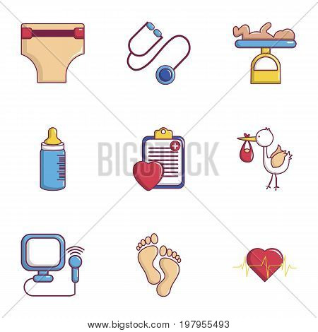 Pregnancy mother icons set. Flat set of 9 pregnancy mother vector icons for web isolated on white background