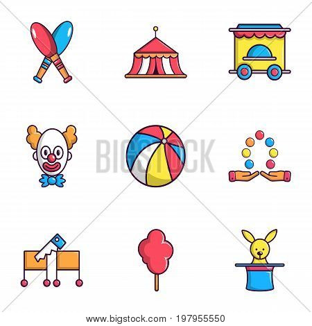 Clown show on birthday icons set. Flat set of 9 clown show on birthday vector icons for web isolated on white background