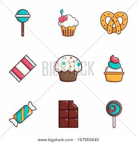Dessert icons set. Flat set of 9 dessert vector icons for web isolated on white background