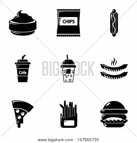 Different fast food icons set. Simple set of 9 different fast food vector icons for web isolated on white background