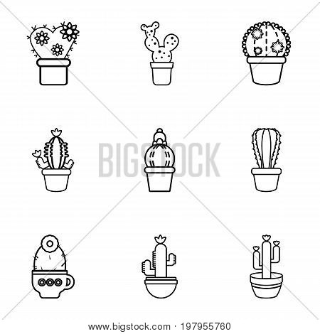 Home cactus icons set. Outline set of 9 home cactus vector icons for web isolated on white background