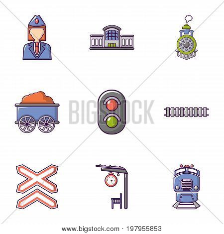 Railway work icons set. Flat set of 9 railway work vector icons for web isolated on white background