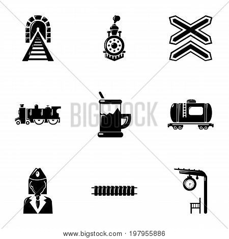 Railway work icons set. Simple set of 9 railway work vector icons for web isolated on white background