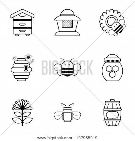 Beekeeping icons set. Outline set of 9 beekeeping vector icons for web isolated on white background