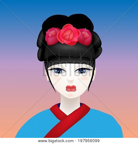 Beautiful bright vector illustration. Geisha with a white face and flowers in her hair