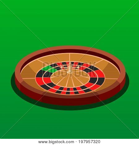Roulette wheel casino game isometric style colorful vector illustration