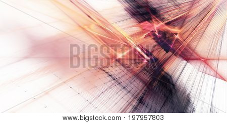 Abstract background element. Fractal graphics series. Three-dimensional composition of repeating grids and glitches. Red and white colors.