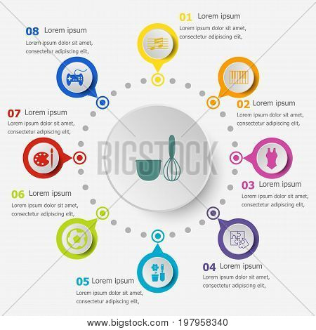 Infographic template with hobby icons, stock vector