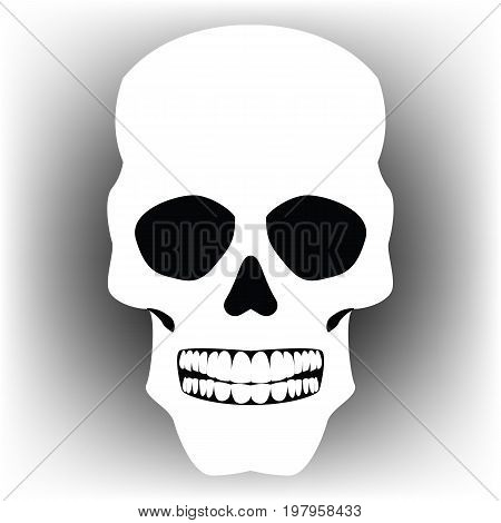 Beautiful vector illustration. White sugar skull. The day of the Dead. Halloween.