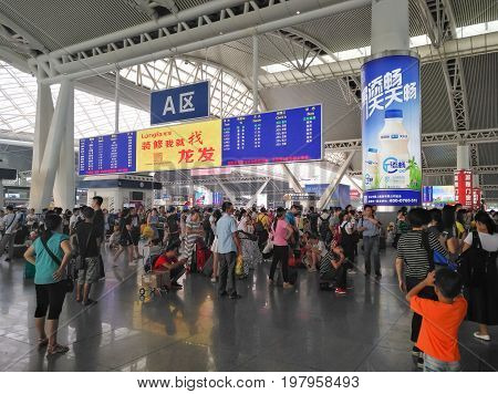 Guangzhou South Railway Station Waiting AreaGuangzhou ChinaAugust 1 2017.The South Railway Station is one of the biggest Chinese station connects with China Railway High-speed and subway and the Intercity Mass Rapid Transit.