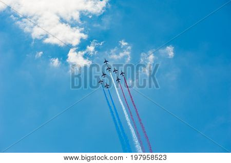 French air patrol in blue sky, France