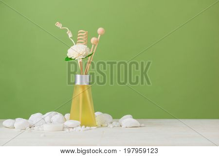 Spa Decoration. Spa Composition With Aromatherapy Over Green.