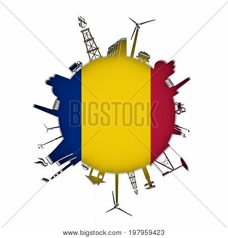 Circle with industry relative silhouettes. Objects located around the circle. Industrial design background. Flag of Romania in the center. 3D rendering.