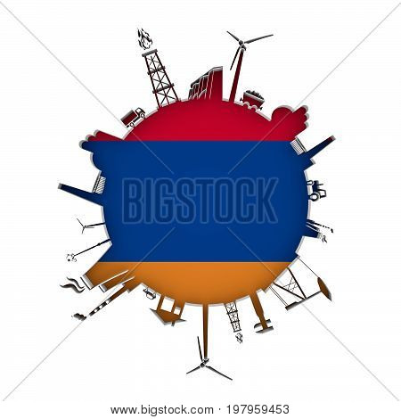 Circle with industry relative silhouettes. Objects located around the circle. Industrial design background. Flag of Armenia in the center. 3D rendering.