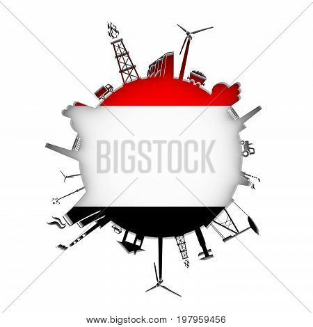 Circle with industry relative silhouettes. Objects located around the circle. Industrial design background. Flag of Yemen in the center. 3D rendering.